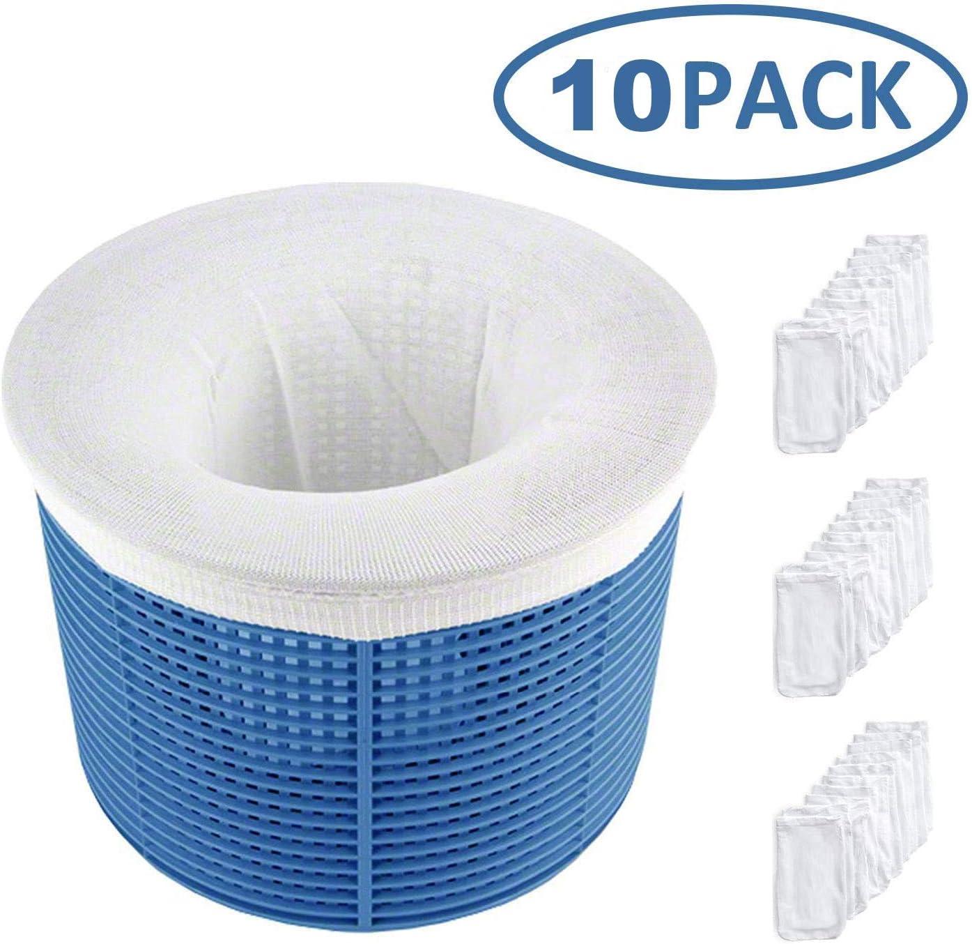 HIQE-FL Skimmer Korb Filter,Schwimmbad Skimmer Socken,Pool Skimmer Socken Filter,Filter Skimmer Pool,Schwimmbad Korb,Filterschoner zum Schutz Ihrer Filter,Wei/ß 10 pcs