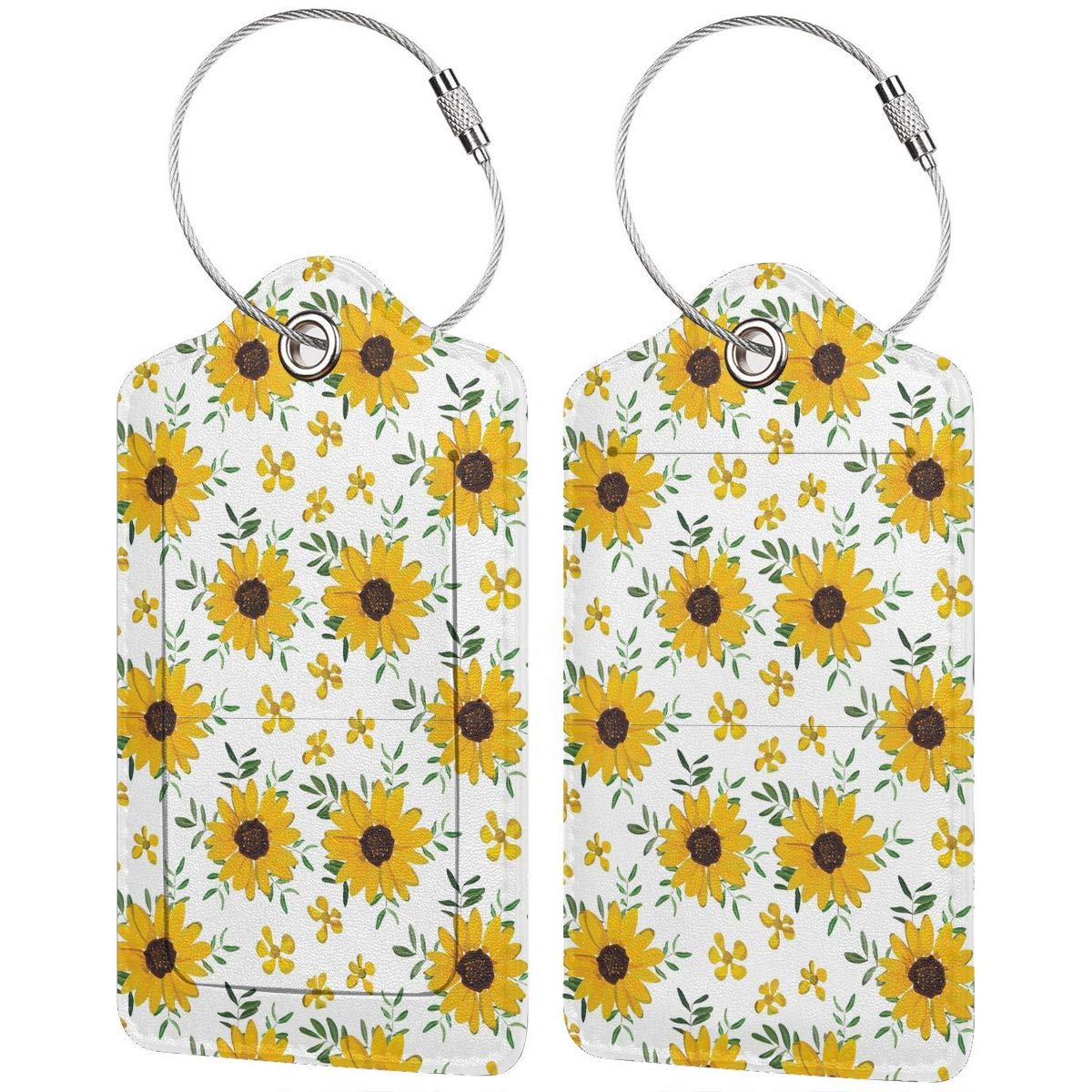 Key Tags for Cruise Ships Honeymoon Gift Leather Luggage Tags Full Privacy Cover and Stainless Steel Loop 1 2 4 Pcs Set Vintage Yellow Sunflower 2.7 x 4.6 Blank Tag