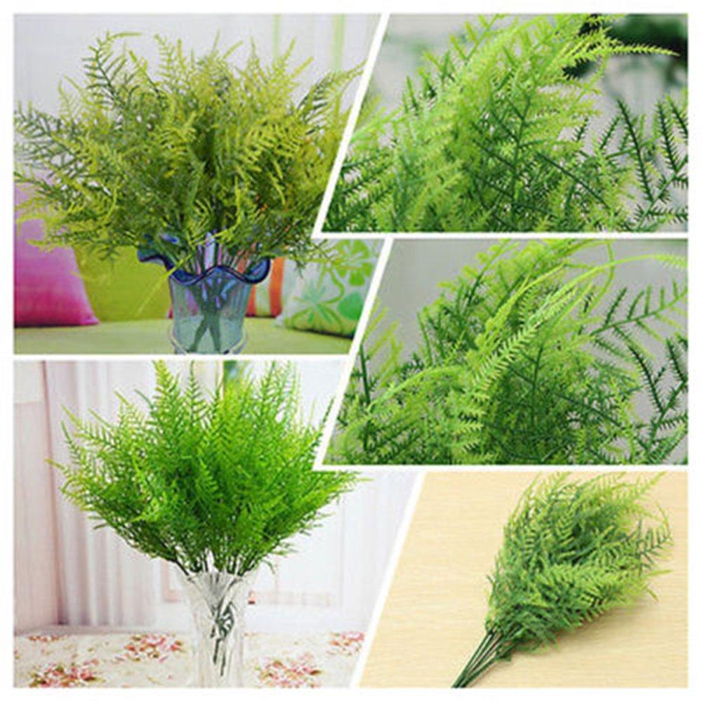 Sinotech Plastic Green 7 Stems Artificial Asparagus Fern Bush Plants Light Green Leaf Foliage Green plant decoration for home store