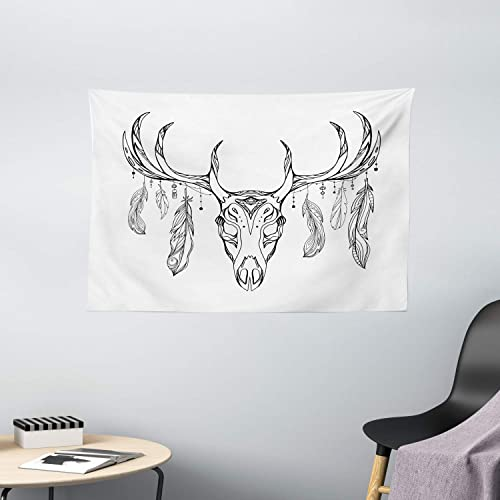Ambesonne Antlers Tapestry, Illustration of a Deer Skull with Antlers and Feathers Boho Pattern Tribal, Wall Hanging for Bedroom Living Room Dorm, 60 W X 40 L Inches, Charcoal Grey White