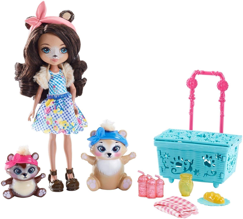 Enchantimals Coffret Pique-Nique, Mini-poupée Bren Ours et Figurines Animales Snore et Zia avec panier bleu et accessoires, jouet enfant, FCC64 Mattel