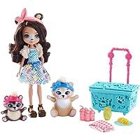 Enchantimals Coffret Pique-Nique, Mini-poupée Bren Ours et Figurines Animales Snore et Zia avec panier bleu et accessoires, jouet enfant, FCC64