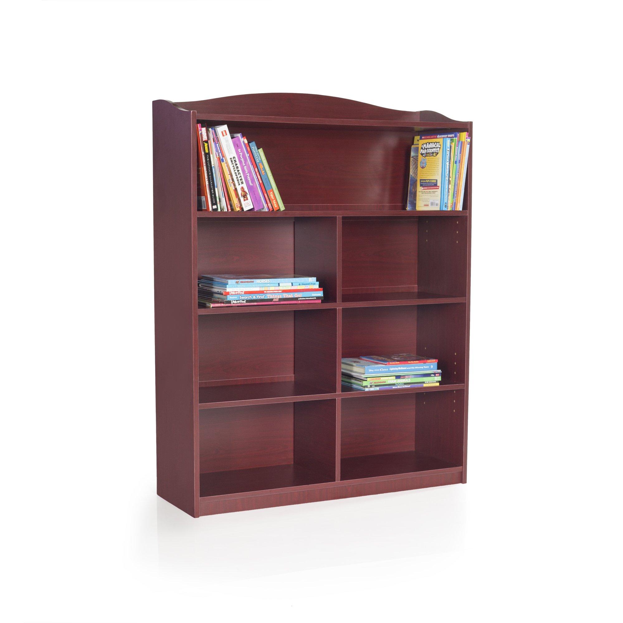 Guidecraft 7-Shelf Cherry Bookcase - Adjustable Shelves, Home & Office Organizer Furniture, Book Display