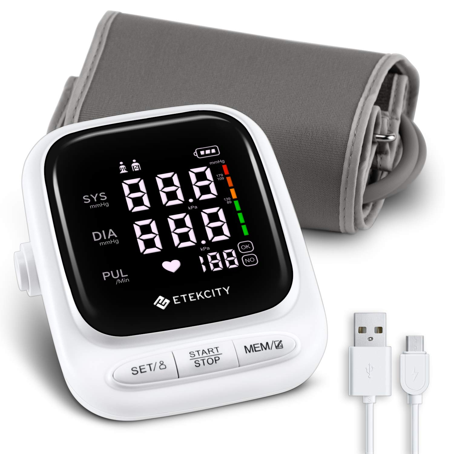 Etekcity Blood Pressure Monitor, Upper Arm Rechargeable BP Monitor Machine with LED Display and Speaker, 2-User with 90 Memory Each, Soft Wide-Range Cuff, FDA Compliant