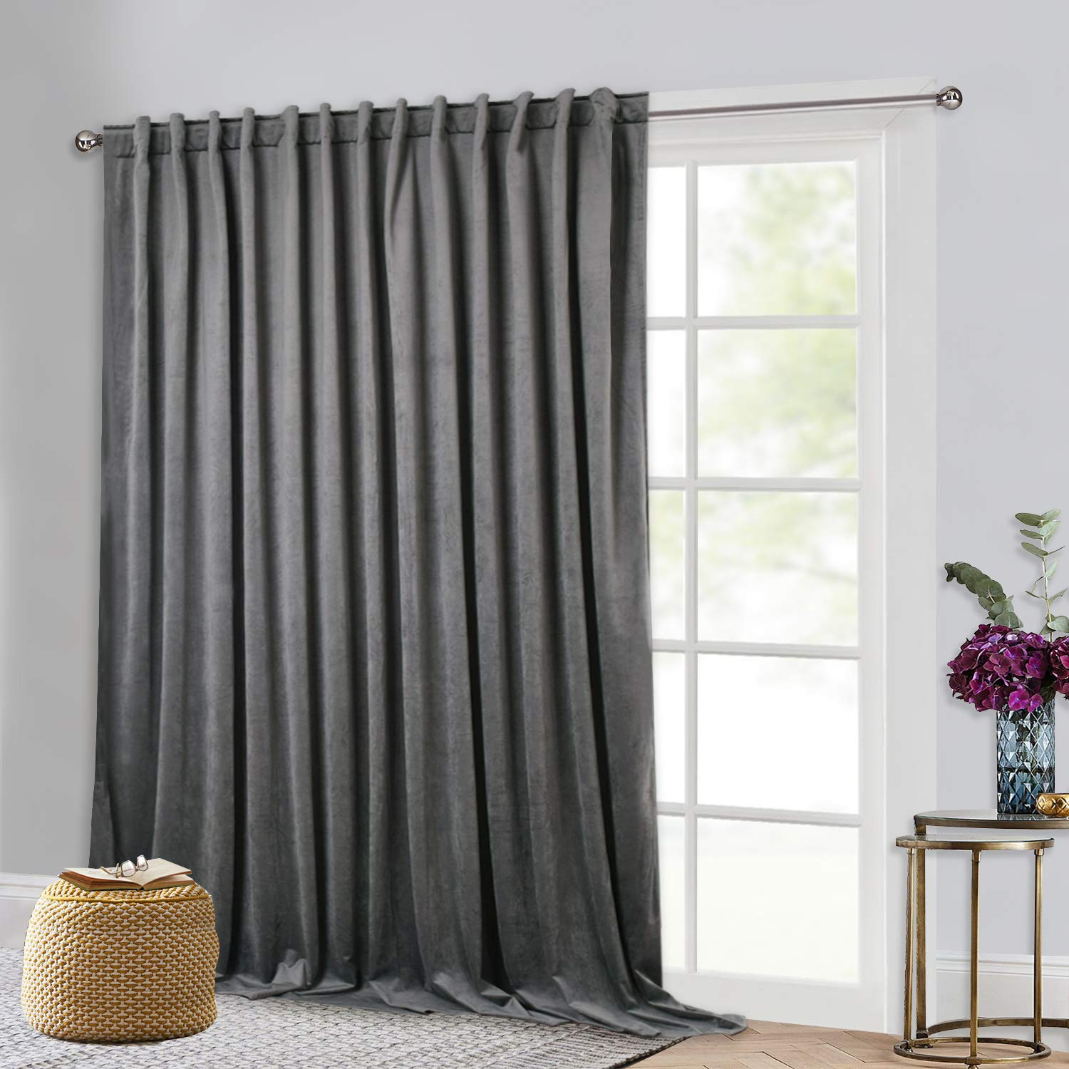 Grey W100 x L120  greenical Blinds for Patio Door - Extra Wide Velvet Drapes Light Dimming Sliding Door Covering Curatin Panel for Theater Master Bedroom, 100  Width x 84  Length, Single Panel