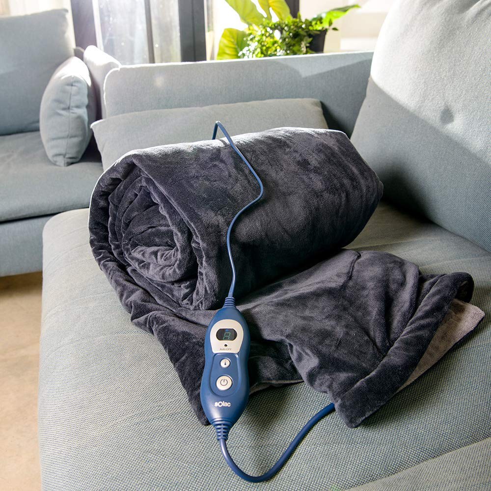 Solac CT8600 - Manta eléctrica Reikiavik, 160 W, 6 niveles de temperatura, reversible, tejido extra suave, Tecnología Sensfort, autoapagado, color ...