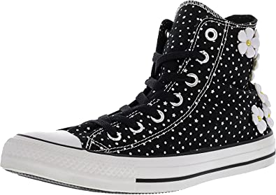 208eaf72b86f Converse Womens Chuck Taylor All Star Floral Polka Dot Black White Sneaker  - 6