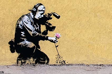 Pyramid America Banksy Camera Man and Flower Graffiti Stencil Street Art  Urban Spray Paint Poster 18x12 inch