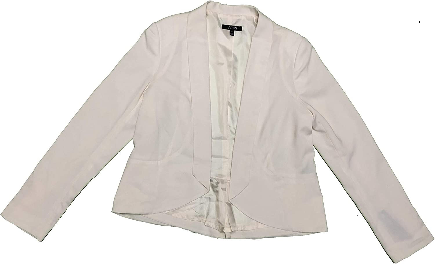 Apt 9 Womens Lined Blazer Suit Coat Pleated Back Peplum Medium Antique White