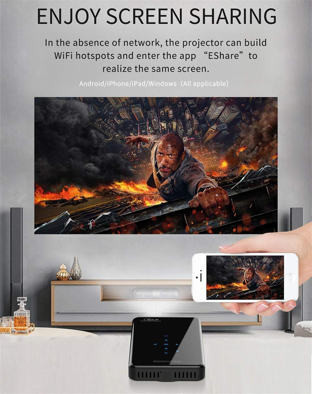 Cine en casa Proyectores,Android7.1 Mini Proyector 200 Lúmenes ...