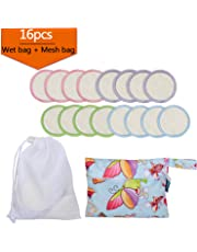 16Pcs Reusable Makeup Remover Pads with 2 EXTRA Bags(Laundry and Storage Bag), Bamboo Organic Rounds for Face, Super Soft and Absorption Wash Cloth Pads