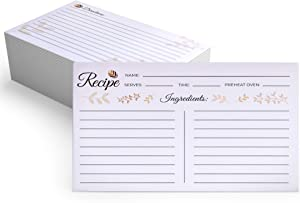 4x6 Recipe Cards Double Sided - Thick Recipe Card with Plenty of Writing Space - Set of 50 Blank Recipe Cards - Ideal Recipe Cards for Bridal Shower, Weddings, Graduation and Mother's Day