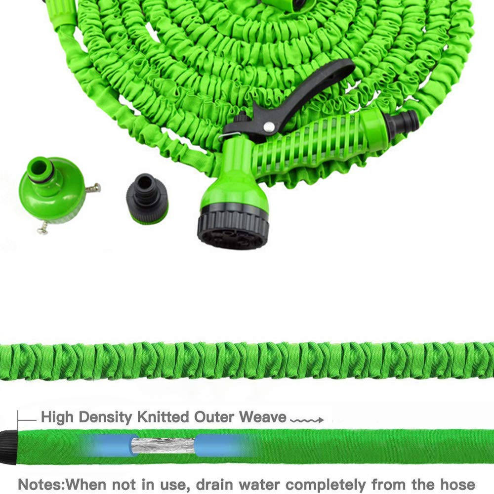 Inshere Upgraded Expandable Garden Hose Stretchable Magic Water Hose with Nozzle and Solid Fittings Flexible Lightweight Maneuverable Hose for Outdoor Garden Lawn Car Full Set Ready (25ft)-Green