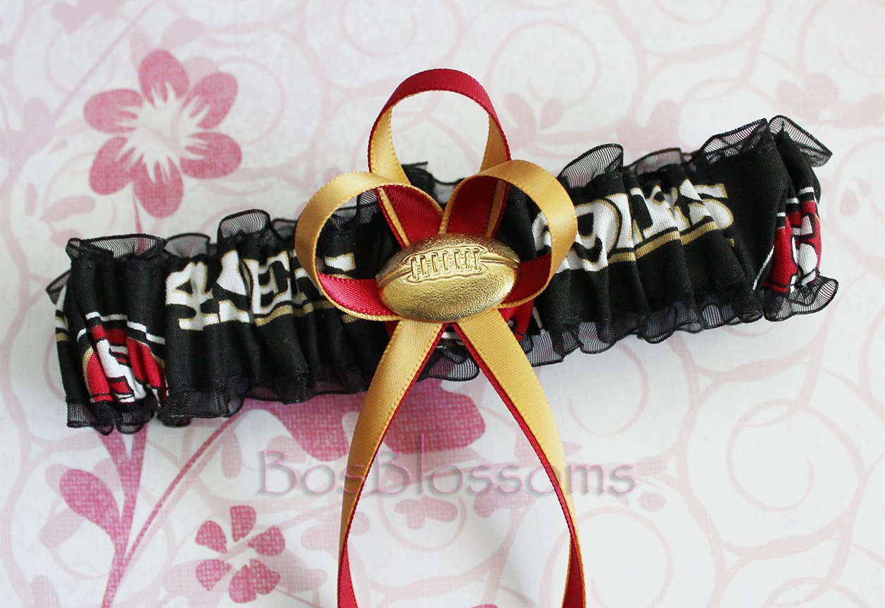 Customizable - San Francisco 49ers black fabric handmade into garters on black organza bridal prom wedding garter with football charm