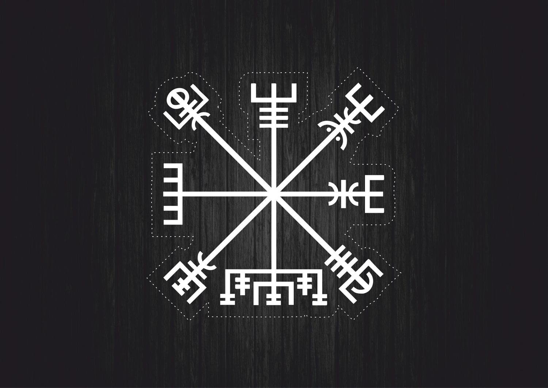 Autocollant sticker islandais symbole magique viking odin Vegví sir boussole r3 akacha SKU007696