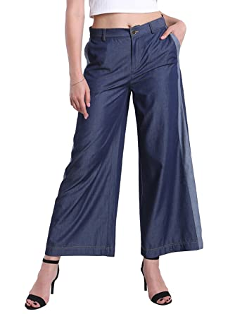 Fyriona Women's Wide Leg Jeans Palazzo Casual Loose Fit Mid Rise ... 8dfb1e984750