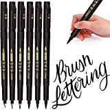 MISULOVE Hand Lettering Pens, Calligraphy Pens, Brush Markers Set, Soft and Hard Tip, Black Ink Refillable - 4 Size(6…