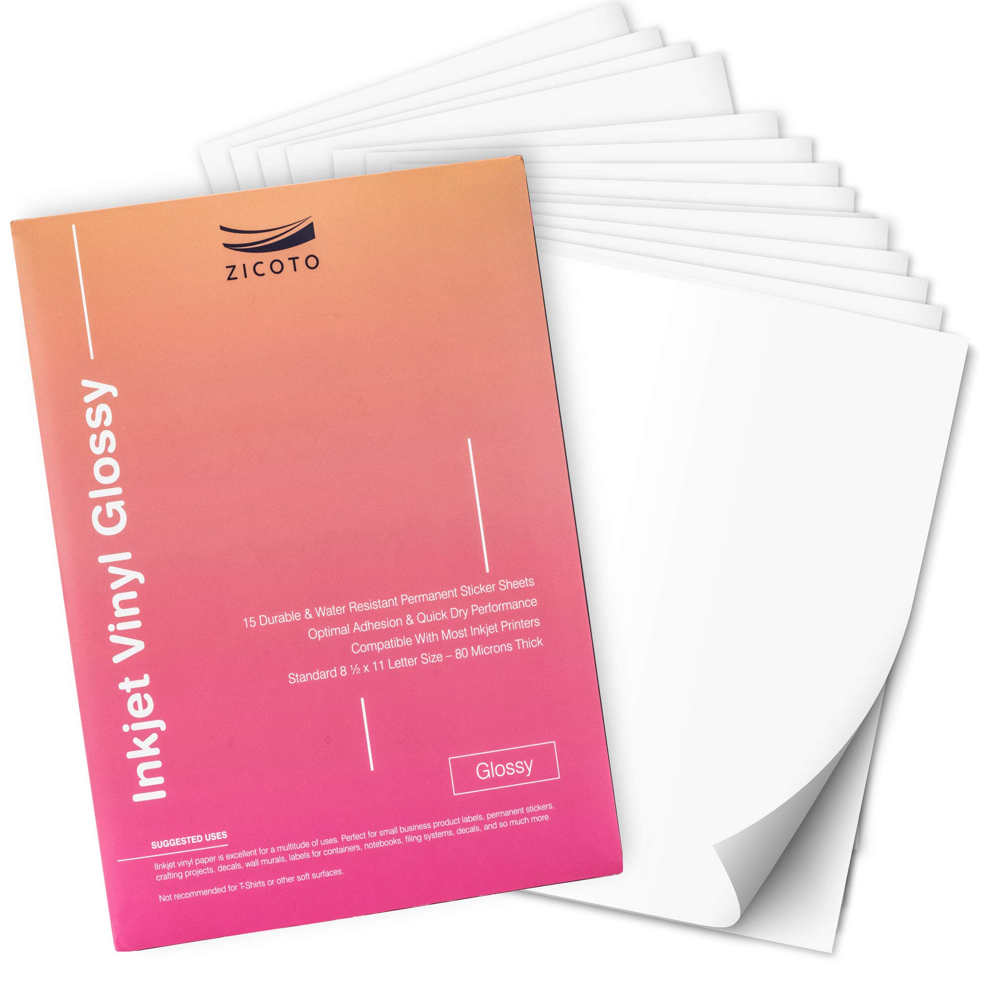 Premium Printable Vinyl Sticker Paper for Your Inkjet Printer - 15 Glossy White Waterproof Decal Paper Sheets - Dries Quickly and Holds Ink Beautifully by ZICOTO (Image #7)