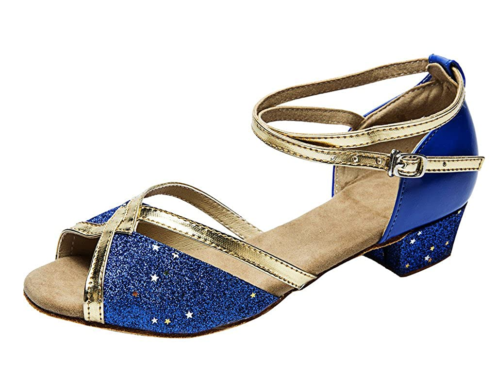 staychicfashion Girls Soft-Soled Glittering Latin Ballroom Dance Shoes with Leather Strap