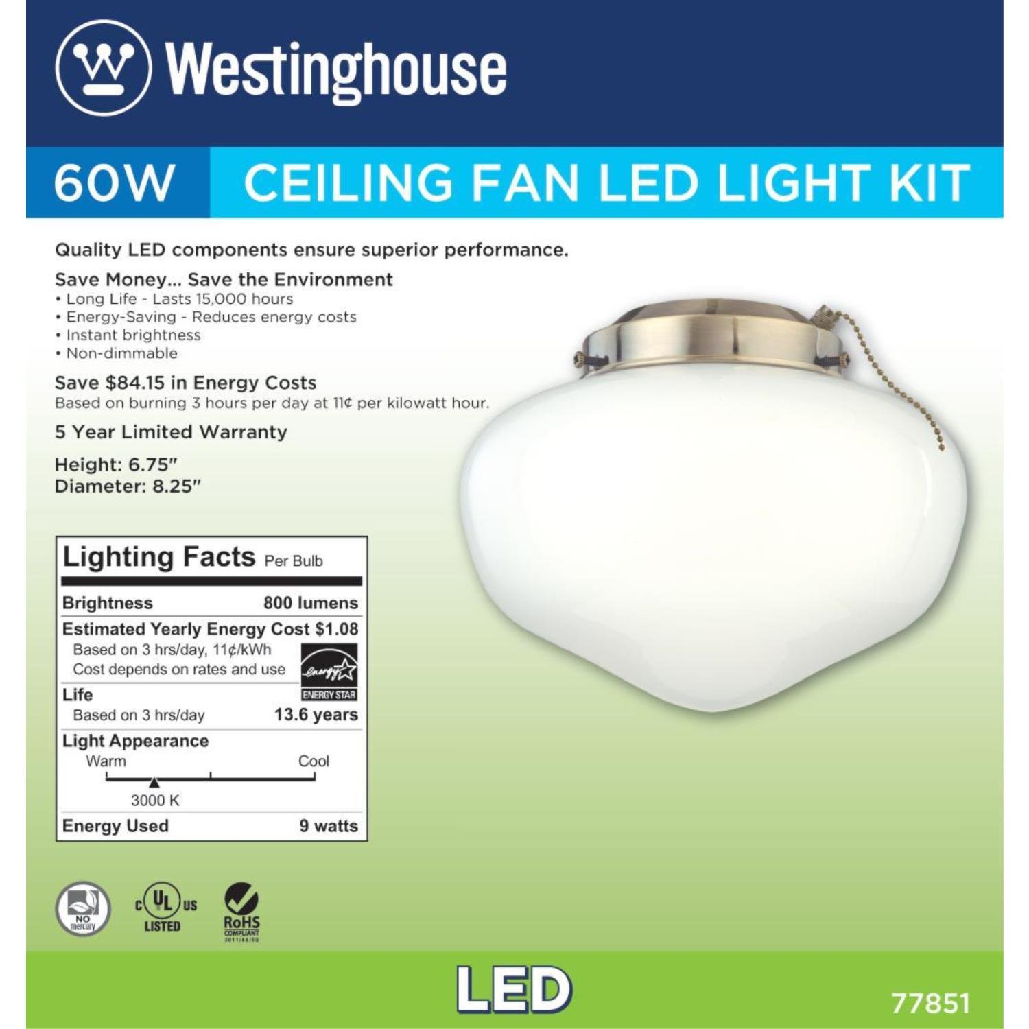 Westinghouse Lighting 7785100 LED Schoolhouse Indoor/Outdoor Energy Star Ceiling Fan Light Kit, Antique Brass Finish with White Opal Glass by Westinghouse Lighting (Image #4)