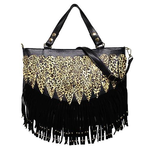 050640b9d3b4 Amazon.com: Civetta Women Lady Punk Tassel Leopard Print Fringed Handbag  Tote Bag Shoulder Bag Purse Black: Shoes