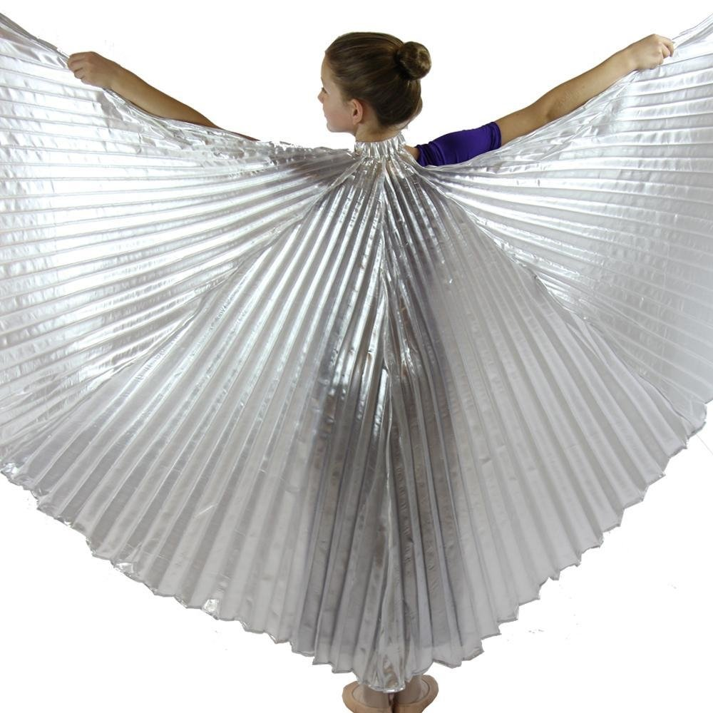Danzcue bambine Tramutante danza del ventre culto angelo isis ali con i bastoni Medio-grandi Argento