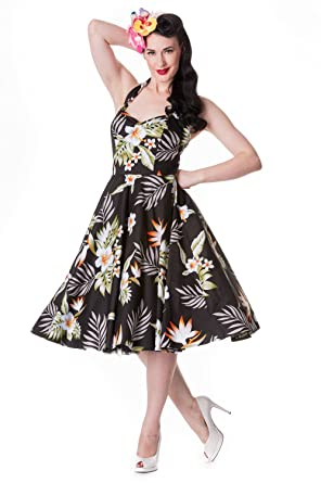 52b5f6997b1 Hell Bunny Aloha Tropical Hawaiian Flower Print Alika Halter Dress ...