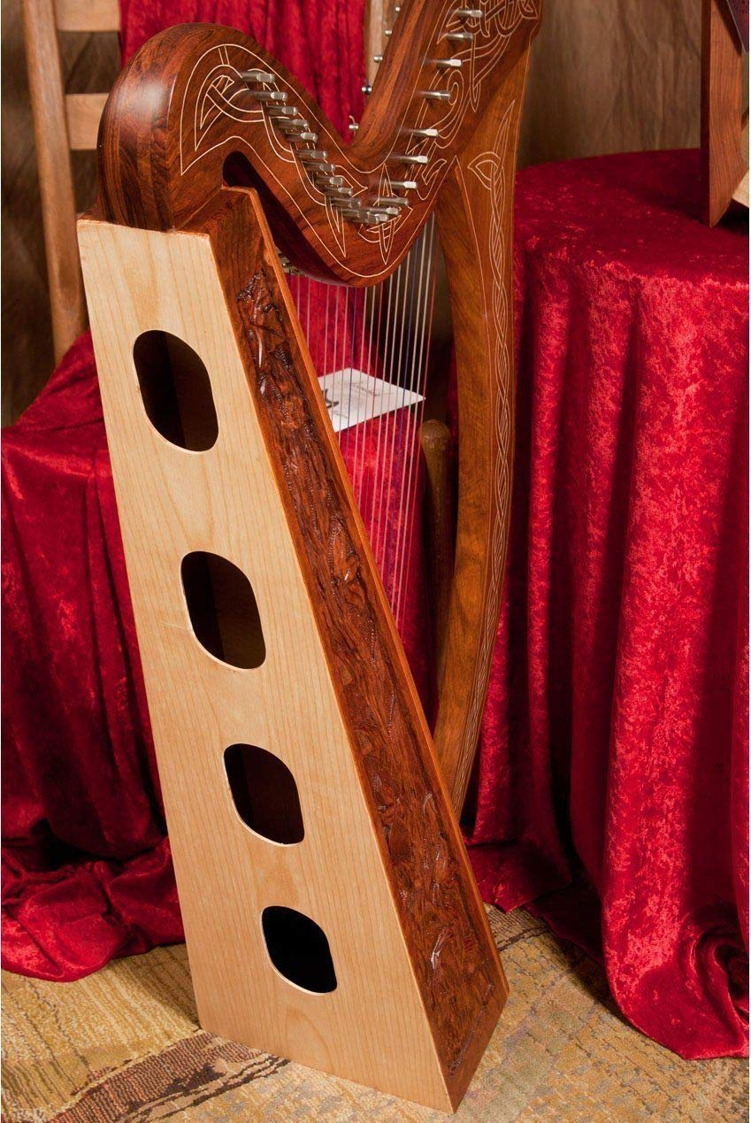 Minstrel Harp Package Includes: 29 String Pro Quality Vine Engraved Irish Minstrel Harp + Snark Clip-On Chromatic Tuner for Harp by Roosebeck