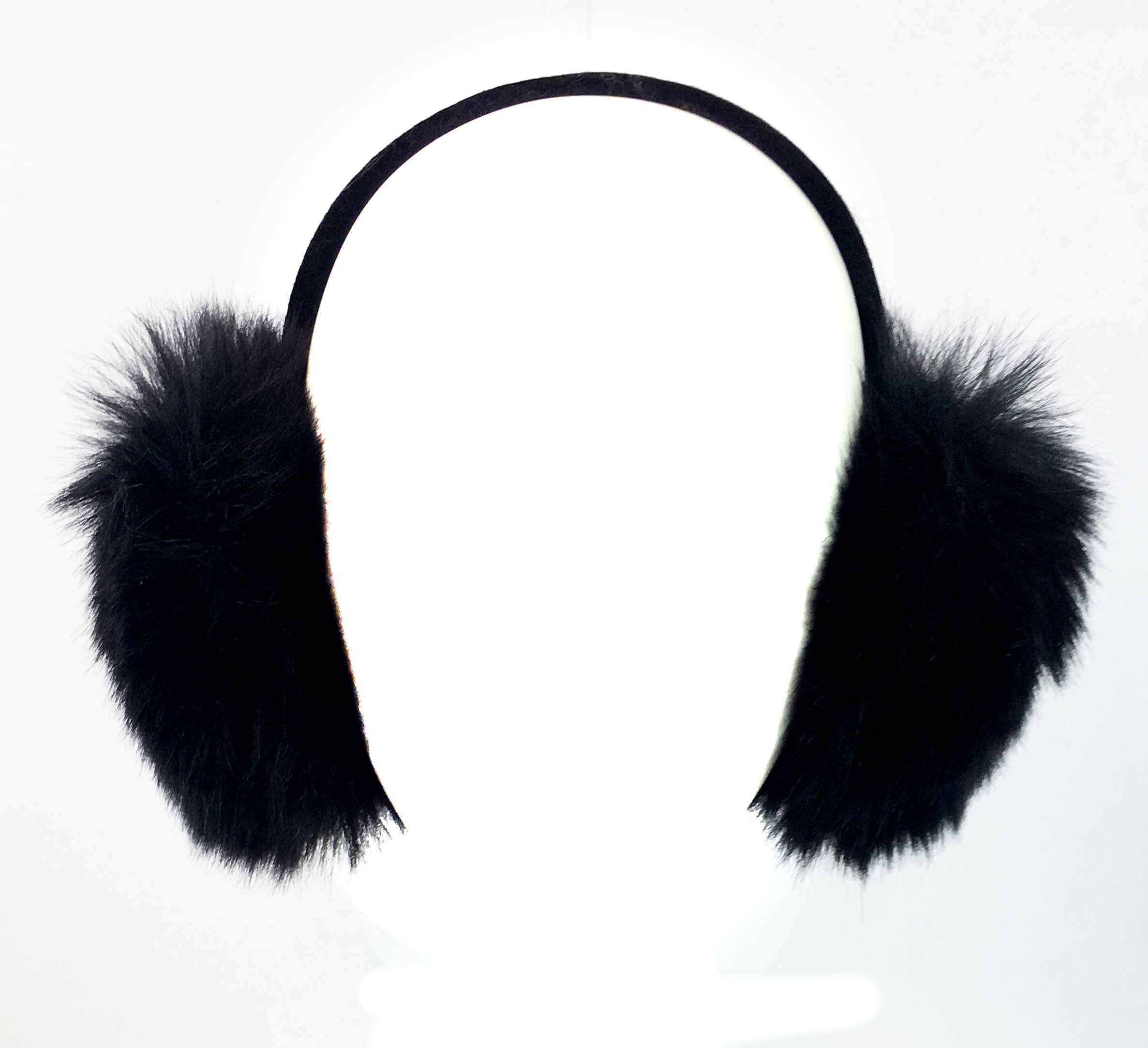 Surell Genuine Faux Fox Earmuff with Velvet Band, Winter Fashion Ear Warmers, Perfect Elegant Women's Luxury Gift (Black)