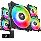 ASIAHORSE FS-9002 Pro 20+6LED(in and Outside Light efect) ARGB Black 120mm Pwm Case Fan with 5V PWM Motherboard Sync/Analog C