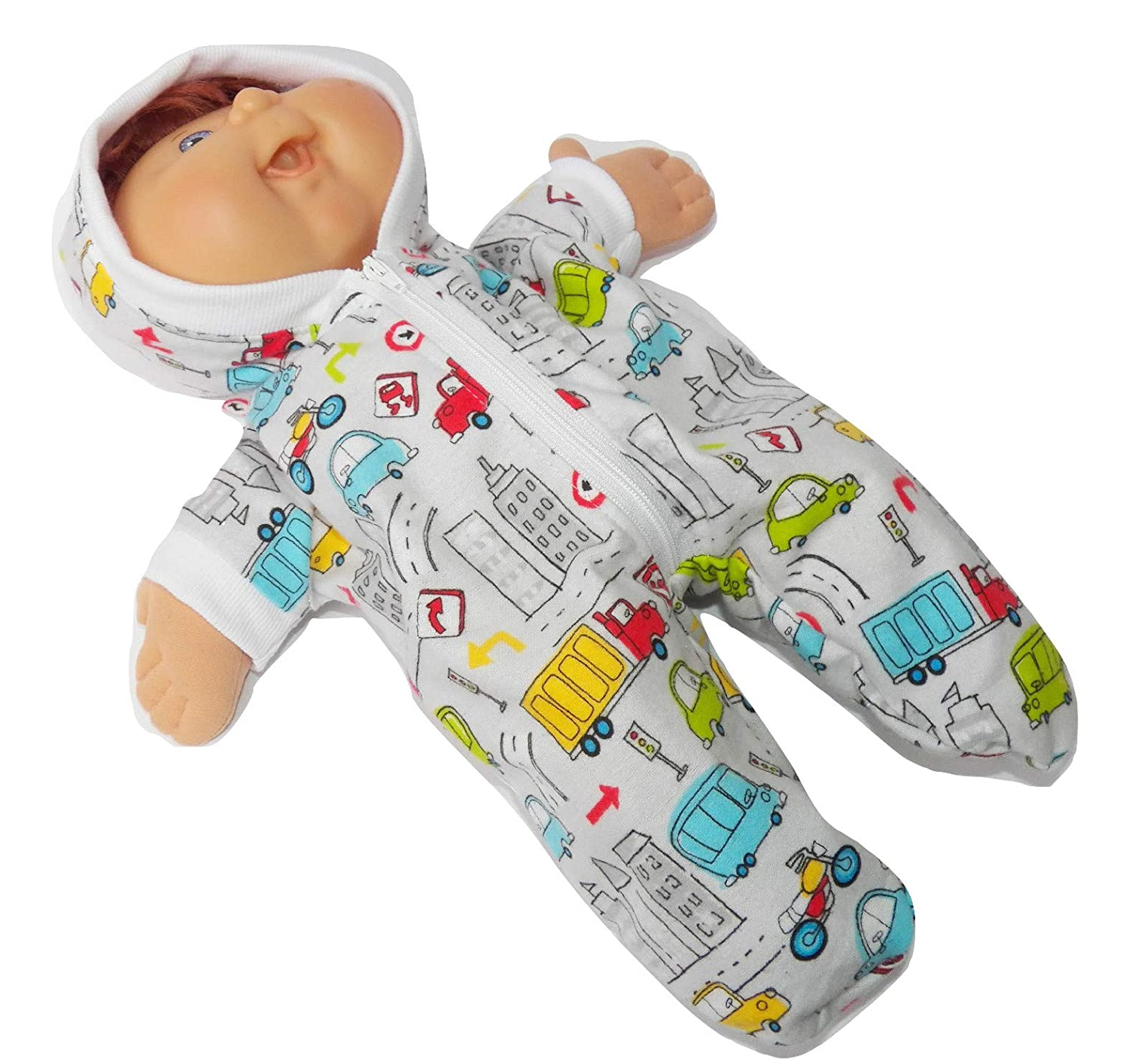 Cabbage Patch Doll Clothes Fits 14 Inch Boy Doll or Preemie Grey Truck Print Pajamas Hooded Romper No Doll