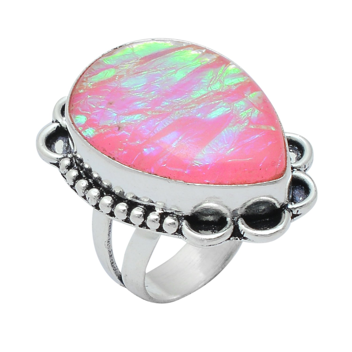 Handmade Pear Shape Dichroic Glass Gemstone Silver Plated Retro Ring Size US-6