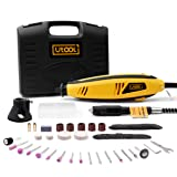 Rotary Tool Utool Power Rotary Tool with 81 accessories and 2 attachments 6 variable speed of 8000~30000rpm,compatible with dremmel dremel tools accessories (Color: Yellow and Black, Tamaño: rotary tool)
