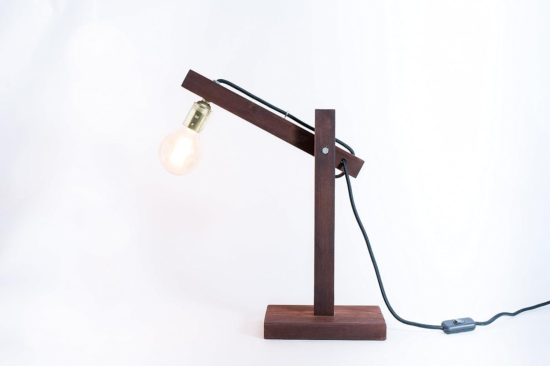 Lámpara de madera, lámpara edison, lámpara de mesa, lámpara de ...