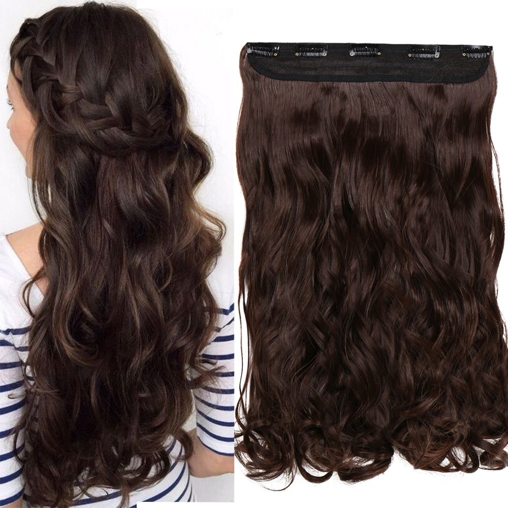 S-noilite 17-27 125G Thick Straight Curly Wavy One Piece Clip in Hair Extensions Any Color 5 Clips Real 100% Natural Human Made Synthetic Hairpiece for Women Lady(23-Straight,Dark Brown)