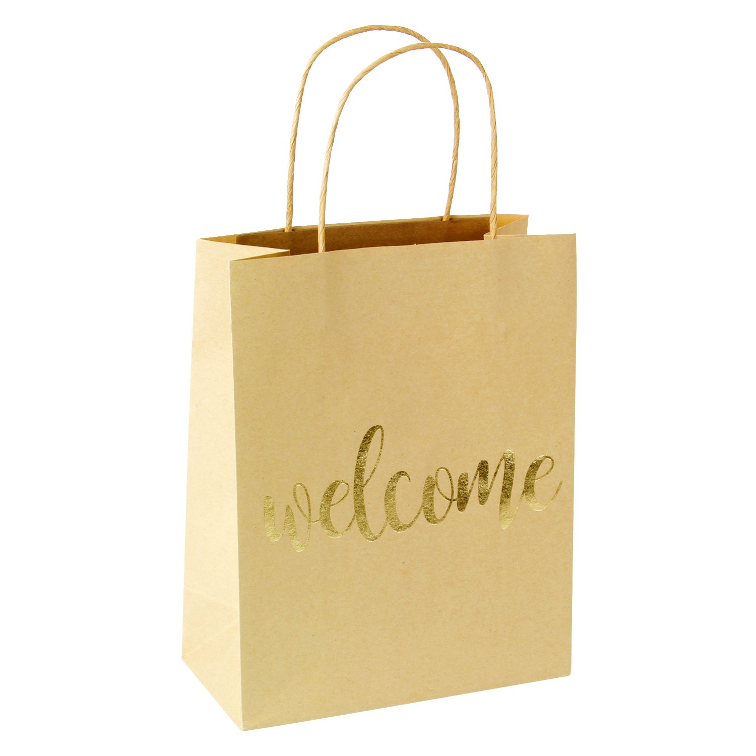 LaRibbon Medium Welcome Gift Bags - Gold Foil Brown Paper Bags with Handles for Wedding, Birthday, Baby Shower, Party Favors - 12 Pack - 8'' x 4'' x 10'' by LaRibbons (Image #3)