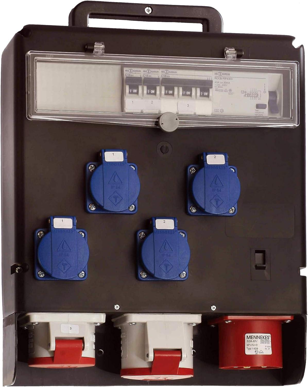 Steckdosenverteiler: 4 Schuko- Made in EU I 60511 as IP44 F/ür Au/ßenbereich Hochbruchfester Stromkasten /& 2 CEE-Steckdosen 230 V, 16 A 400 V, 16 A // 32 A Schwabe Strom-Verteiler FIXO I