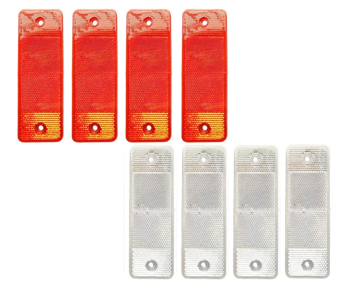 4 Red and 4 White Works with Pickups Jfbrix 8 Pack of Plastic Stick-On Car Reflector with 4 Reflection Angles Truck Accessories Trucks and Other Places