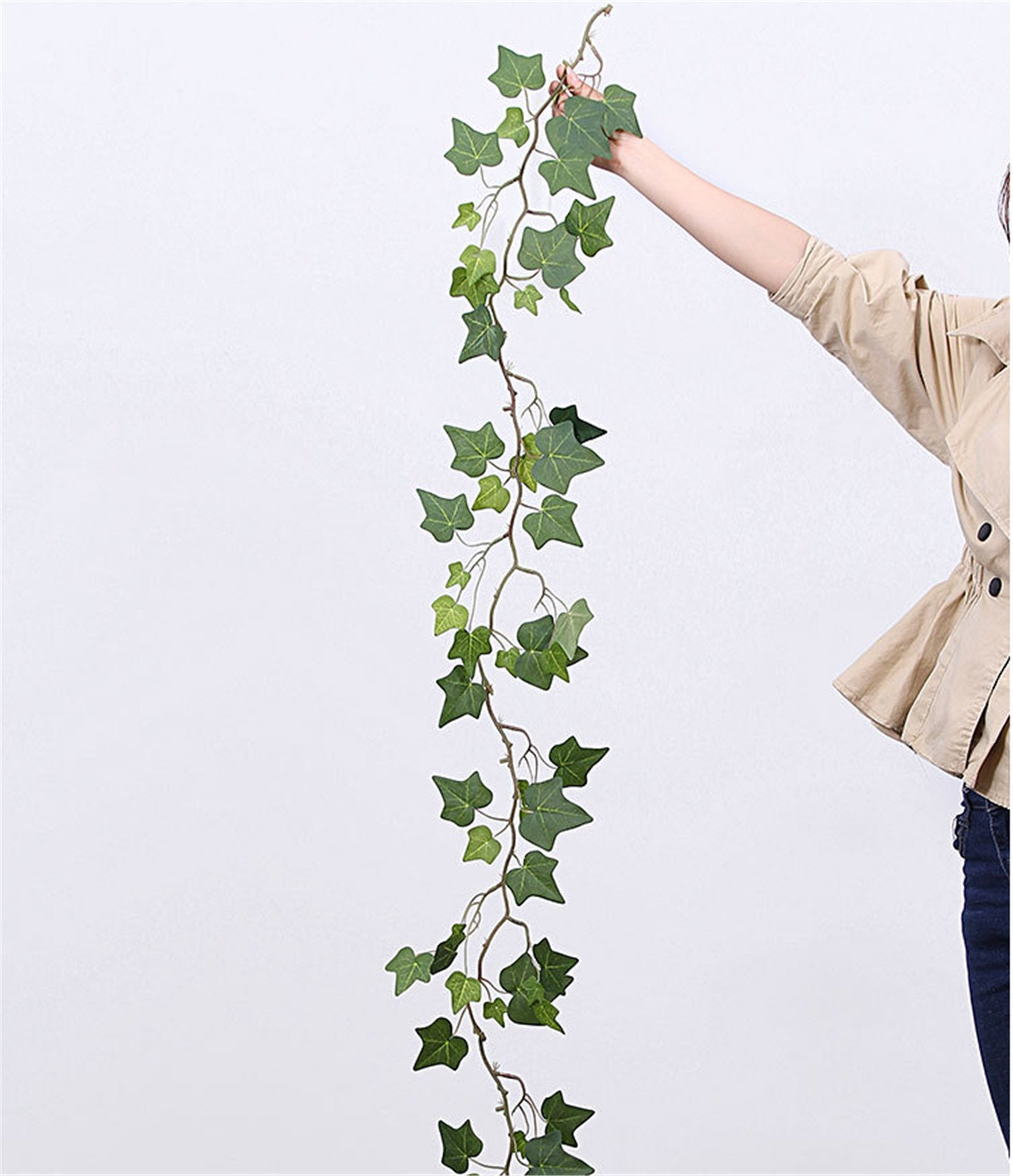 Zzooi Natural-Looking Artificial Vine,Climbing Plant,Vines Plants,Ivy Leaf,Ficus Tikoua,Suitable for:Wedding,Party,Wall,Doors,Swing,Mirrors and Anywhere You Like.(3PCS in Total)