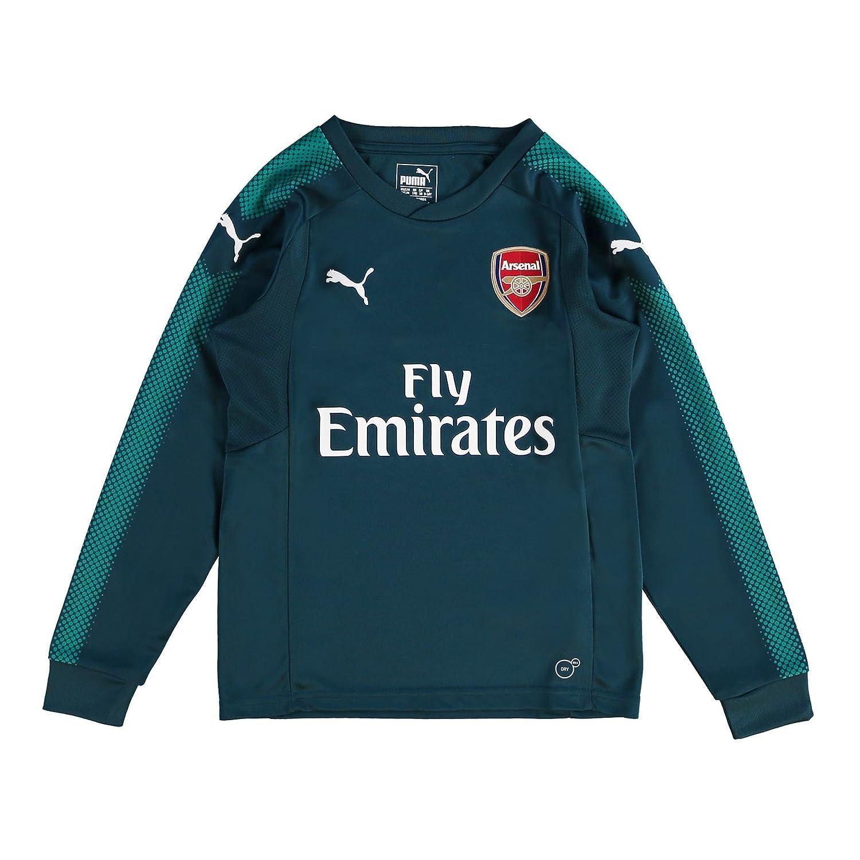 Puma 2017-2018 Arsenal Home LS Goalkeeper Football Soccer T-Shirt Trikot (Deep Teal) - Kids