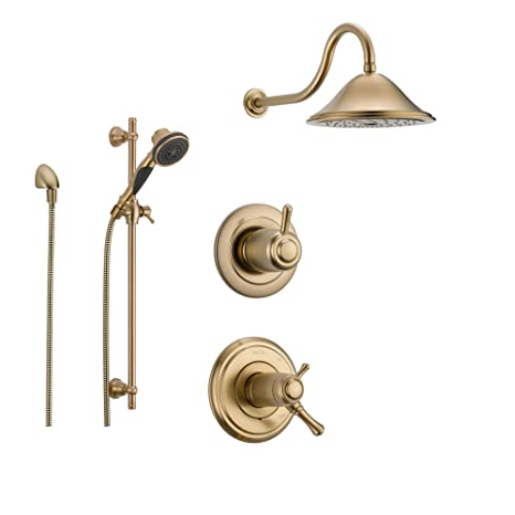 Delta Cassidy Champagne Bronze Shower System With Thermostatic