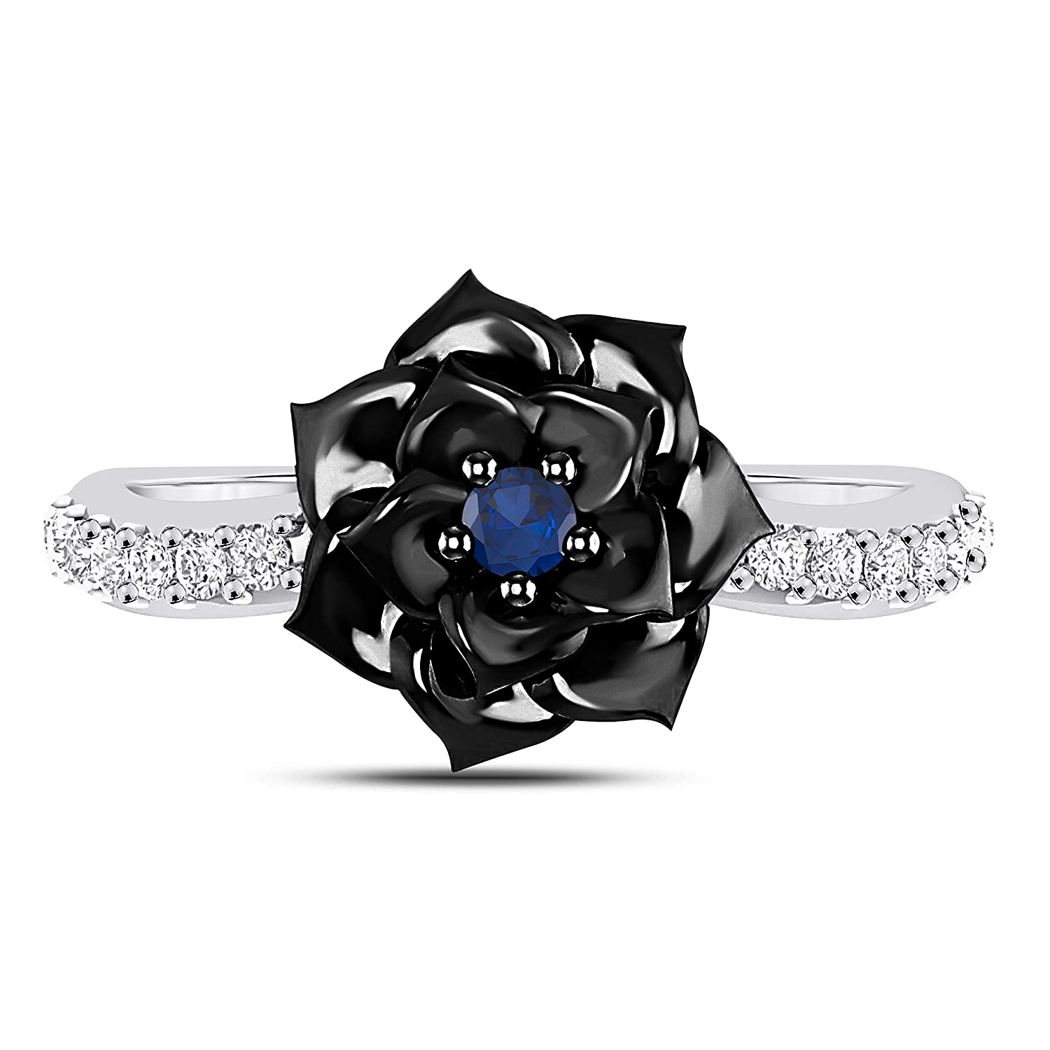 Black 14K Twotone Gold Plated Alloy Blue Sapphire and Cubic Zirconia Lotus Flower Fashion Ring 1//4 Ct for Womens