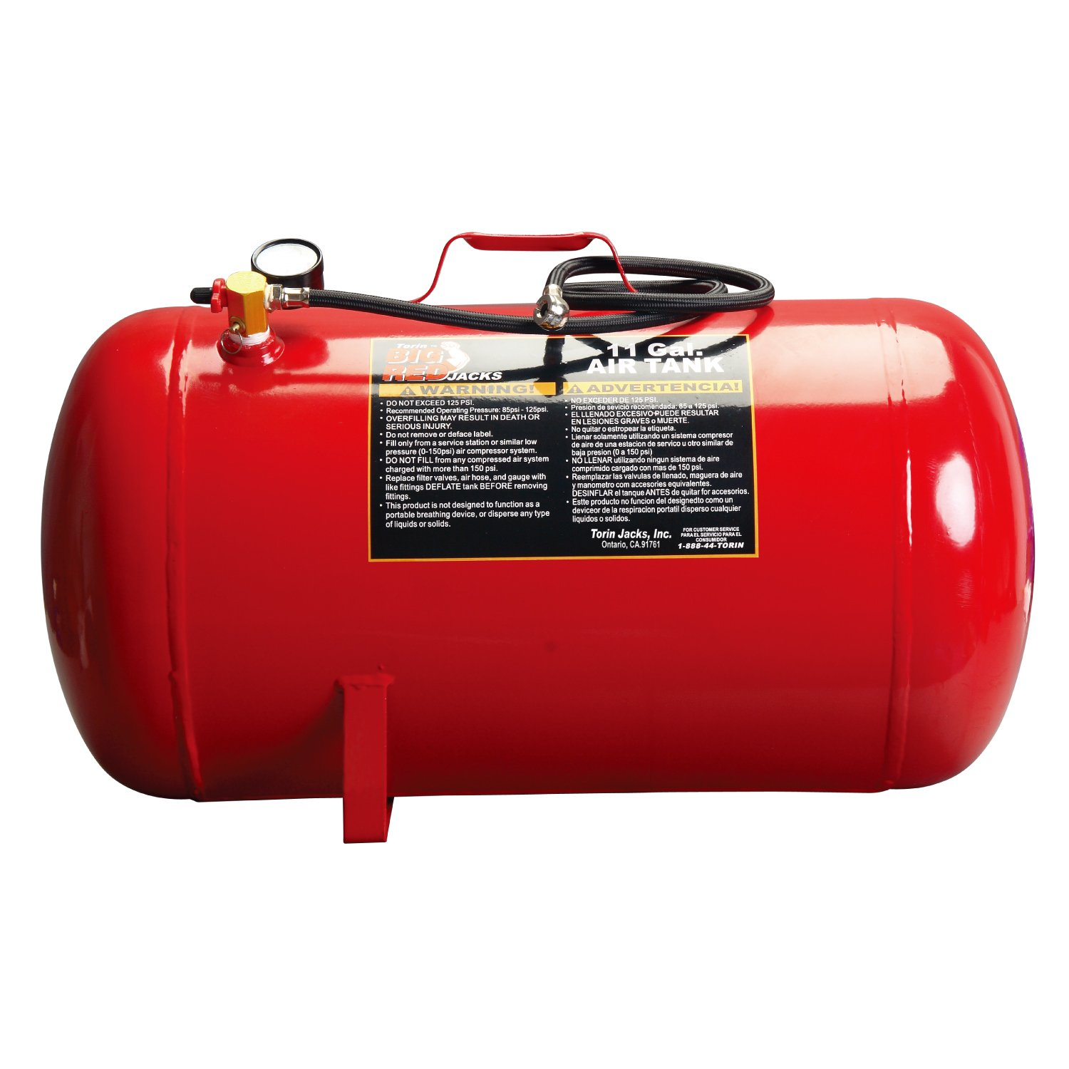 Torin Big Red Portable Horizontal Air Tank with 50'' Hose, 11 Gallon Capacity by Torin