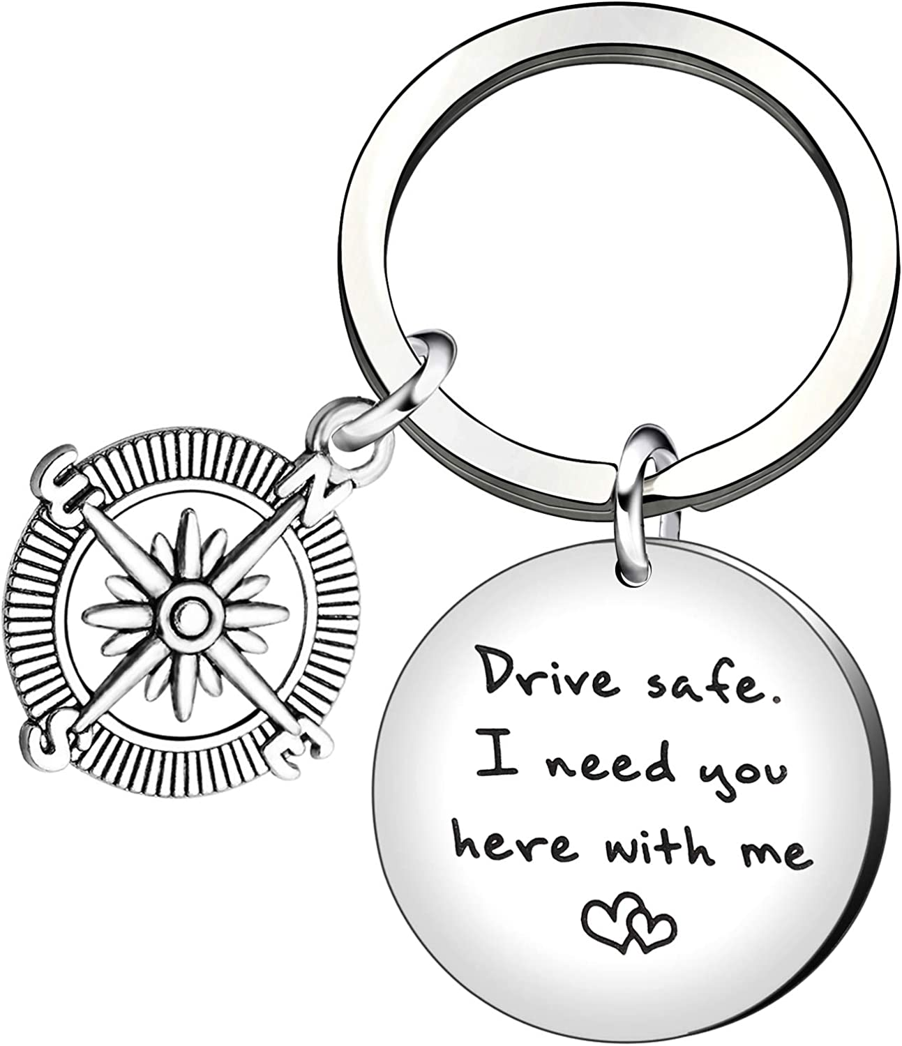 Llavero de coche con texto en inglés «I Need You Here with me» para regalo de padre