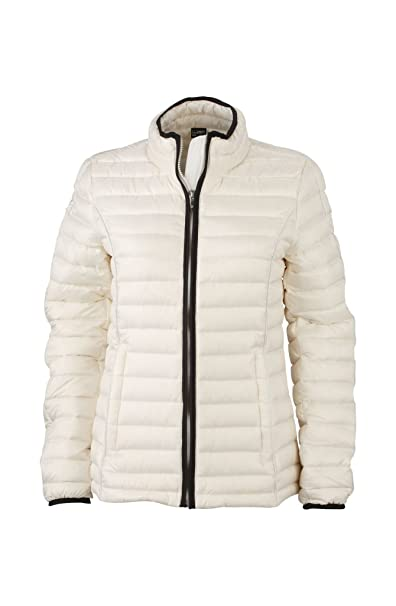 Ladies Quilted Down Jacket in Off-White/Black Size: S