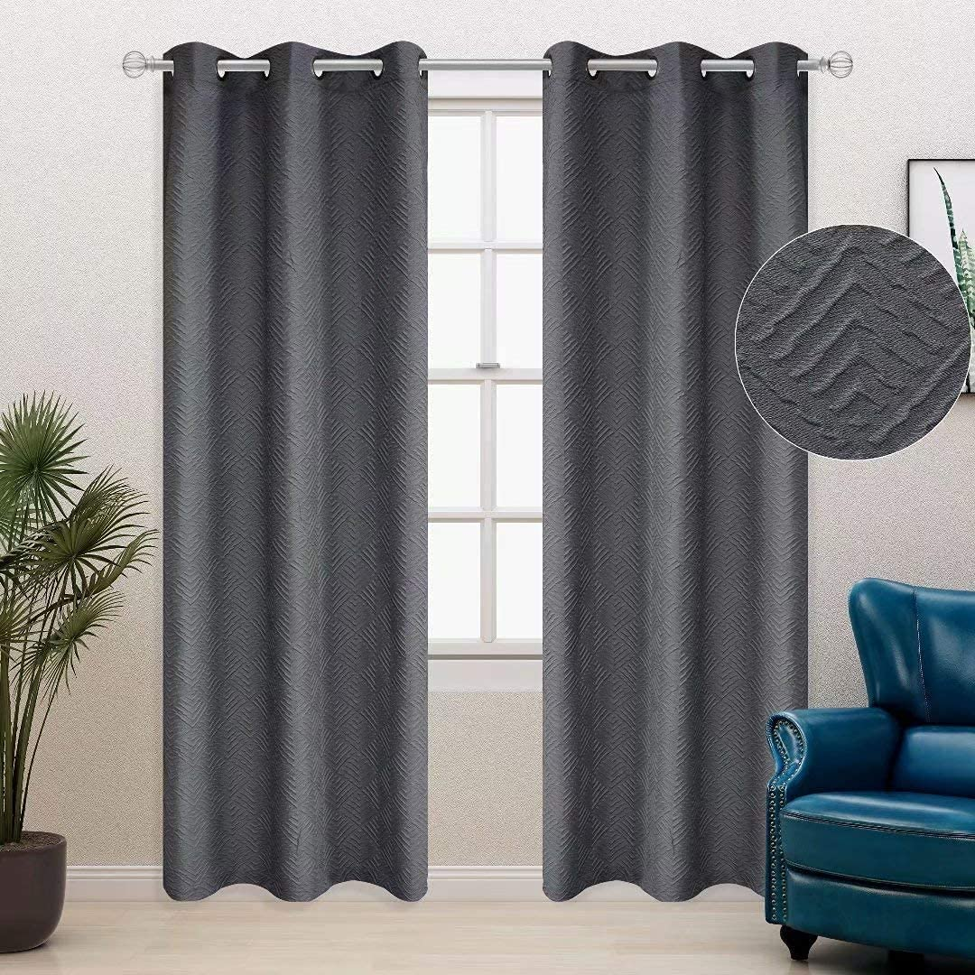 BONZER 3D Embossed Textured Matelassé Sculptured Curtains for Bedroom and Living Room - Light Filtering & Privacy Effect Grommet Curtain Panels, 40 x 84 Inch, Dark Grey, Set of 2 Panels