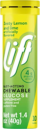 Lift | Fast-Acting Glucose Chewable Energy Tablets | Lemon & Lime | 10 ct Tube (Pack of 12)