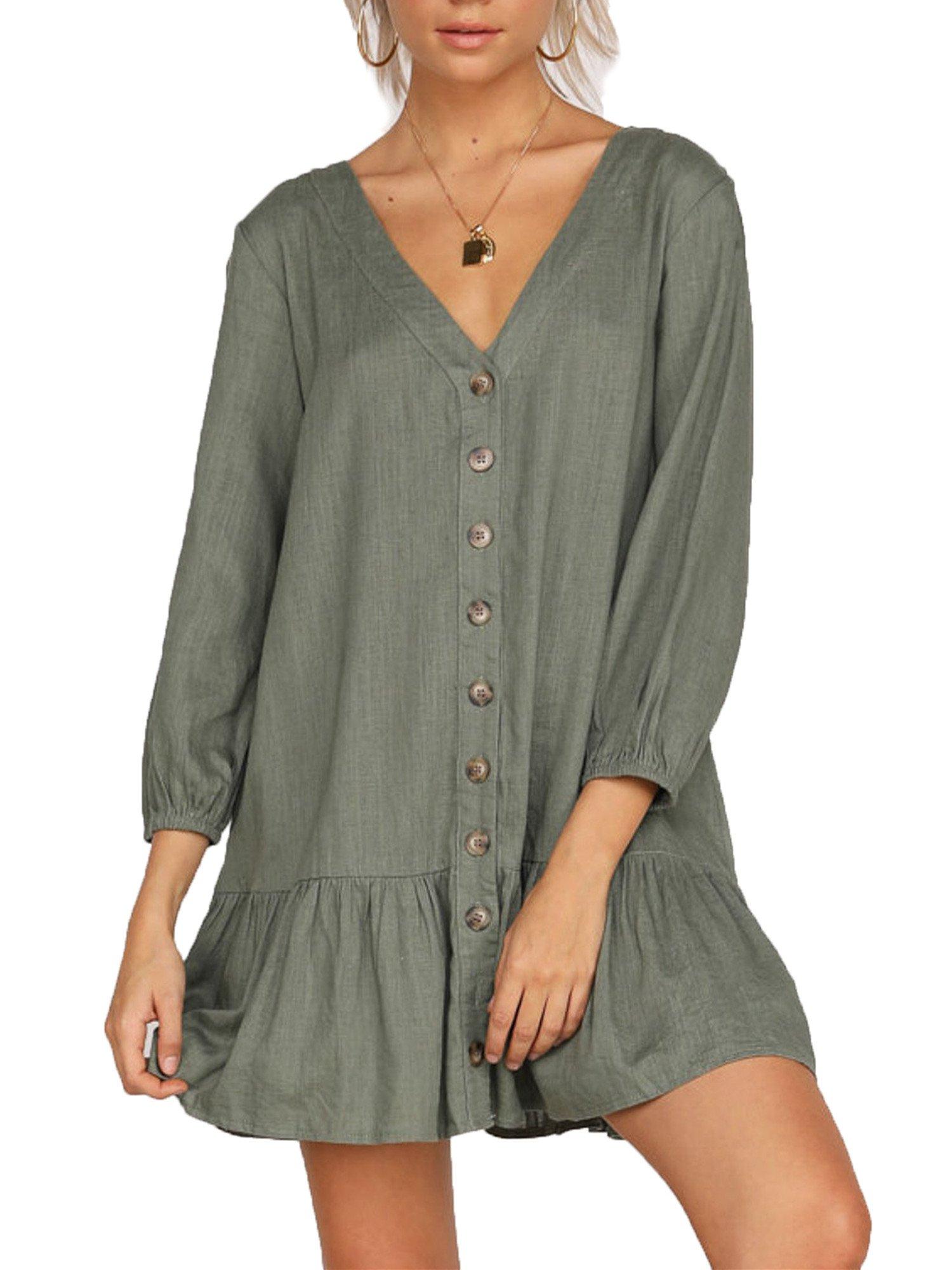 FOUR CLOUR Women's Casual Summer Deep V Neck Button Down Short Sleeve Mini Dress (X-Large, A-Green)