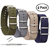 4 Pack NATO Watch Bands,STYLELOVER Ballistic Nylon Watch Straps - Choices of Colors & Widths 16mm 18mm 20mm 22mm or 24mm