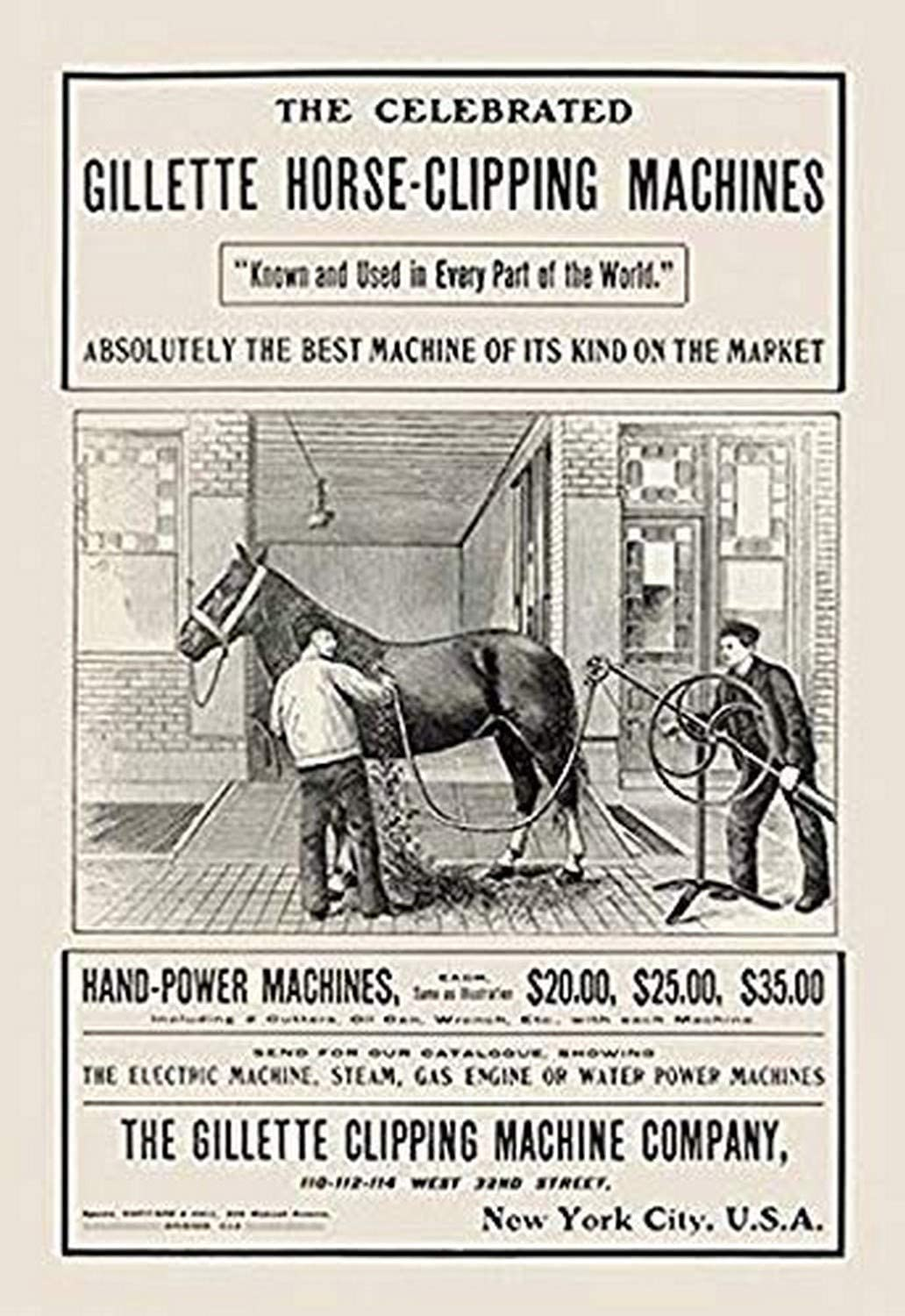 """Buyenlarge 0-587-00865-2-C4466 The Celebrated Gillette Horse-Clipping Machines Gallery Wrapped Canvas Print, 44"""" x 66"""""""
